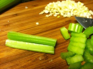 Diced celery and garlic