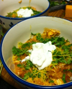 Topped with sour cream and cilantro - yummy!