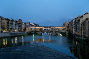 Looking out at the Ponte Vecchio at dusk